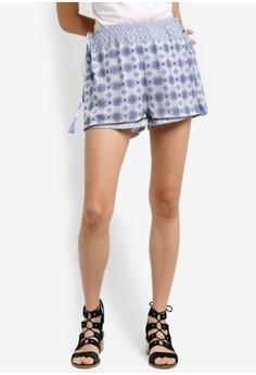 【ZALORA】 Love 印花側腰繫帶短褲