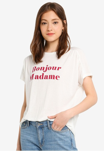JACQUELINE DE YONG 白色 文字印花上衣 5A820AA3E5AC91GS_1