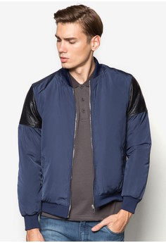 Quilted Bomber With Textured PU Sleeve Insert