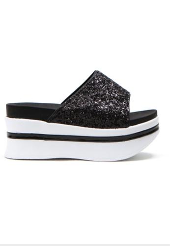 Crystal Korea Fashion 黑色 韓國製亮片厚底拖鞋 764E0SH9782186GS_1
