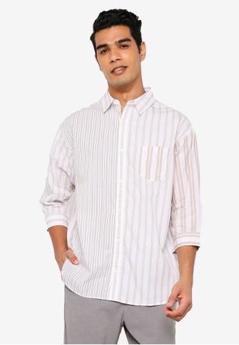 RAGEBLUE brown 3/4 Sleeve Woven Shirt 3BA48AA9CB55D9GS_1