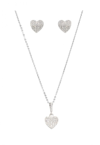 Silverworks silver Fully Zirconia Heart Design Earrings and Necklace Set SI696AC42HMRPH_1