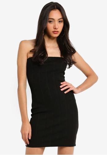 MISSGUIDED black Petite Bandeau Bandage Rib Mini Dress 5ADC7AAD5A5C89GS_1