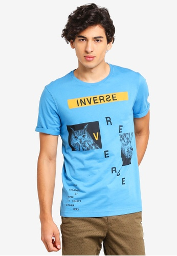 United Colors of Benetton blue Printed T-shirt 2F929AAEF1F714GS_1
