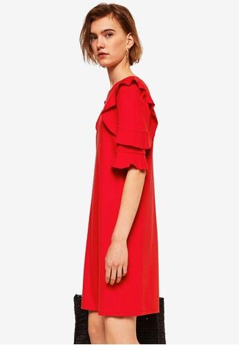 Mango red Ruffled Sleeve Dress 8C1BBAAB59D9F6GS_1