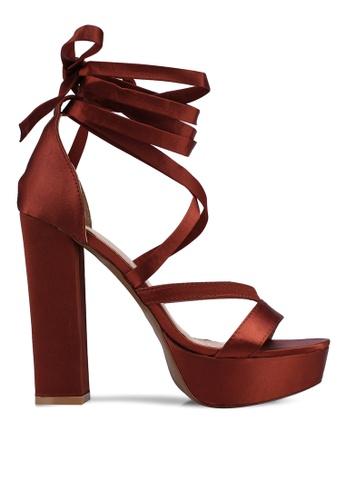 Public Desire brown Bonita Lace Up Heels 793F4SHDAB7B5BGS_1