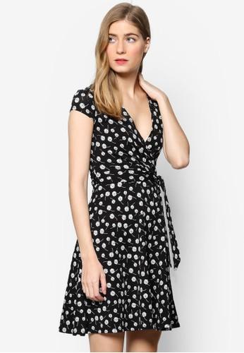 esprit outlet 桃園裹式碎花短袖連身裙, 服飾, 洋裝