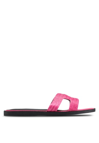 Nose pink Croc Print Sandals NO327SH36BGPMY_1