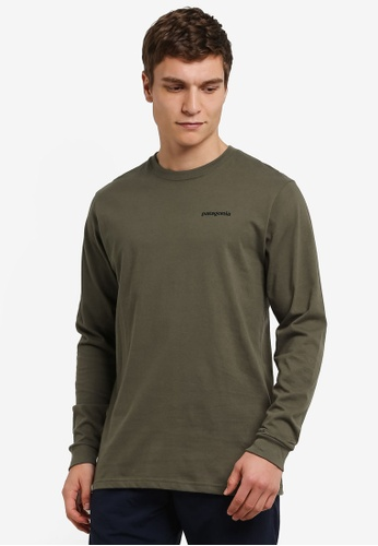 Patagonia green Long Sleeve Fitz Roy Trout Cotton T-Shirt PA549AA0RQDWMY_1
