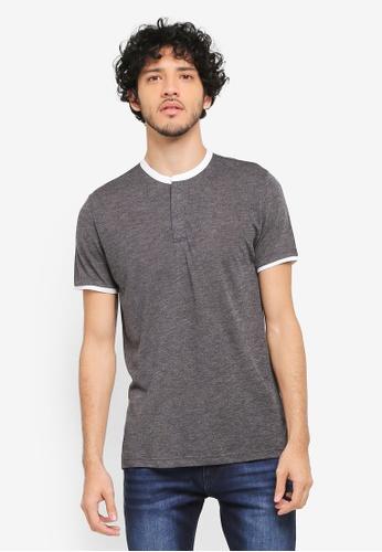 ZALORA grey Contrast Stand Collar Knit Polo T-Shirt 5857DAAF67F88CGS_1