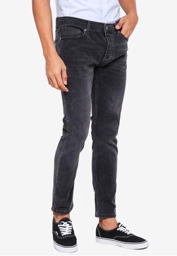 Topman grey Grey Wash Stretch Skinny Jeans 287F0AA3F2F8D7GS_1