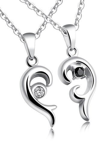 Trendyshop silver Couple Pendant Necklace Set TR116AC2V0JZHK_1