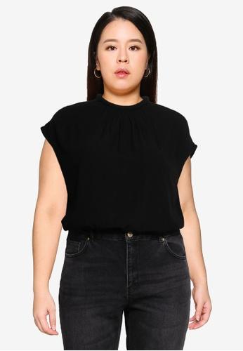 Vero Moda 黑色 大尺碼 Paige 棒球帽袖上衣 9F027AA798AB3CGS_1
