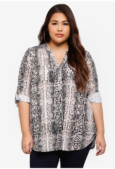 【ZALORA】 Plus Size Snake Button Jersey Shirt