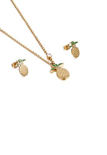 Glamorousky 白色 時尚個性鍍金色菠蘿鋯石316L鋼項鏈和耳釘套裝 7E08FAC2CA504AGS_1