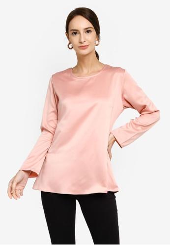 Aqeela Muslimah Wear pink Flowy Blouse 3742DAA9744855GS_1