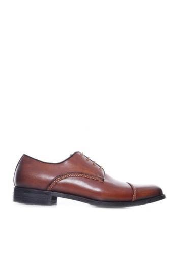 Zeve Shoes brown Zeve Shoes Derby Cap Toe - Cognac Tan Braided Lace Up (Hand Painted Patina) 75FE0SH38957D8GS_1
