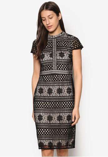 蕾絲鉤花高領短袖洋裝, 服飾, esprit台灣outlet洋裝