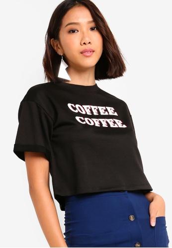 Something Borrowed black Short Sleeves Printed Sweater 26E78AA73F7583GS_1
