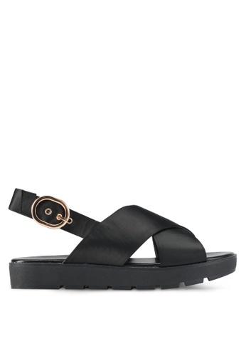 Something Borrowed black Cross Strap Platform Sandals 5F21CSHCFBADDBGS_1