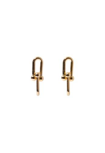 SKEDA gold Short Refined Chain Earrings 7442DAC3BE6373GS_1