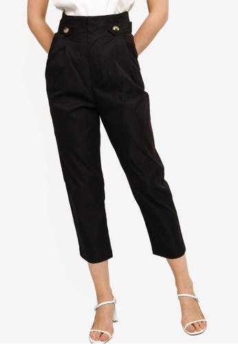 ZALORA WORK black Button Tab Long Pants BACF7AAB6B1EBAGS_1