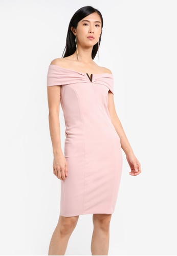 Goddiva pink Bardot Midi Dress With Metal Detail GO975AA0SSC1MY_1