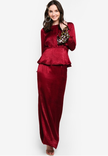 Back Lace Detailing Kurung from Lubna in Red