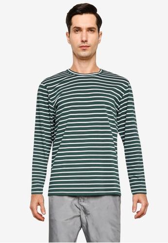ZALORA BASICS green Stripe Long Sleeve T-Shirt 77B4FAA34749AAGS_1