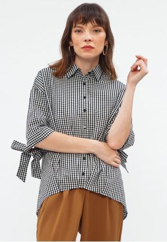 Minimal black and white Gingham Pleat Shirt 5FB9CAA65254D8GS_1