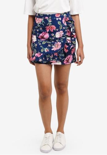 Something Borrowed navy Asymmetric Ruffle Mini Skirt 2F01EAA86A900AGS_1