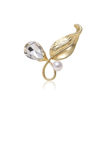 Glamorousky white Fashion and Simple Plated Gold Leaf Imitation Pearl Brooch with Cubic Zirconia 2182BACAB4F846GS_1