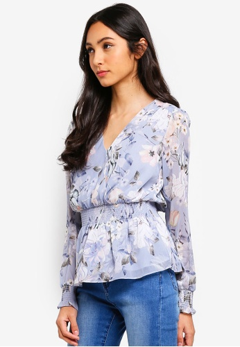 Forever New blue Shiloh Wrap Shirred Waist Top 1E68AAAD7DAF96GS_1