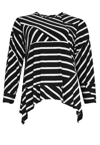 Miss You black Miss You Women Plus Size Neck Stripe Long Sleeve Handkerchief Hem Top 1XL-4XL (Black Grey) 8553FAABBC213EGS_1