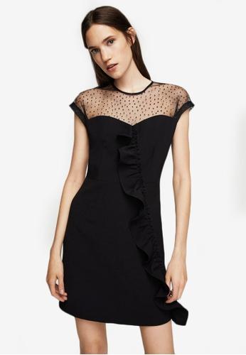 Mango black Ruffle Plumeti Dress MA193AA0ROPUMY_1