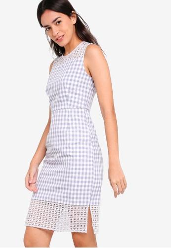 ZALORA multi Lace And Check Sheath Dress A76CFAA2E68C2EGS_1