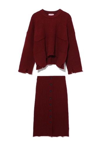 b+ab red Distressed knit sweater and skirt set 4A011AA020A854GS_1