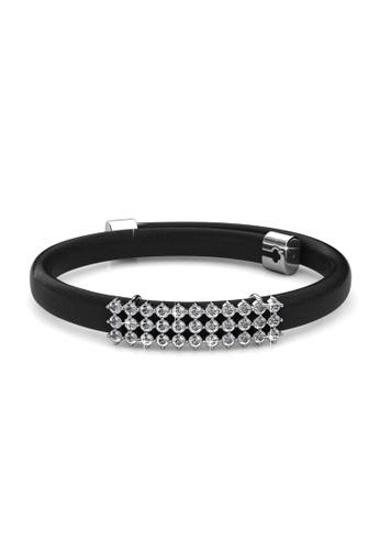 Her Jewellery black Jamie Leather Bracelet (Black) - Licensed Genuine Crystals from Swarovski® HE581AC0RVEYMY_1