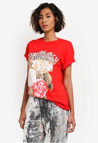 TOPSHOP red Gem Detail T-Shirt TO412AA0ROUMMY_1