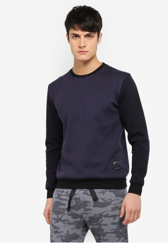 UniqTee black Contrast Sleeve Sweatshirt UN097AA0SYU6MY_1