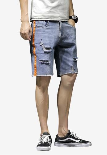 hk-ehunter 藍色 男士側條紋中腰牛仔布短褲子 9F7DBAAE40913DGS_1