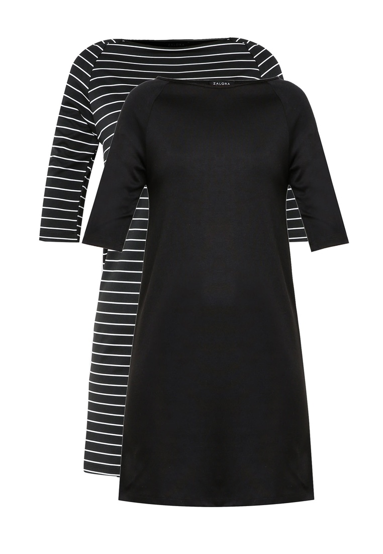Raglan Stripe ZALORA Shift 2 Basic Black Black Sleeves White BASICS Dress pack with ZqpHEf