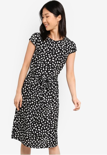ZALORA BASICS black and multi Basic Midi Dress With Tie FAAF4AA52B346EGS_1