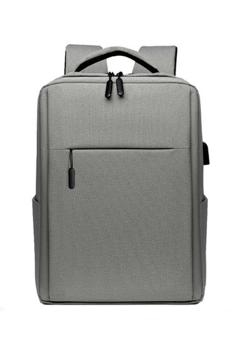 Lara grey Men's Minimalist Plain Nylon Zipper Backpack - Light Grey 02BD9AC583B4C9GS_1