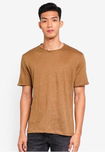 MANGO Man 褐色 短袖素色T恤 EFD87AAAB970A1GS_1