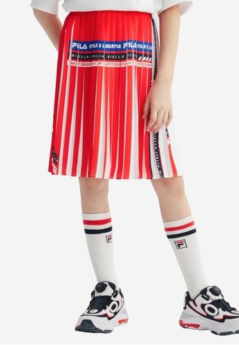FILA red FILA KIDS FILA Logo Color Blocks Pleated Skirt 10-15yrs A87D3KAB2DDDFDGS_1