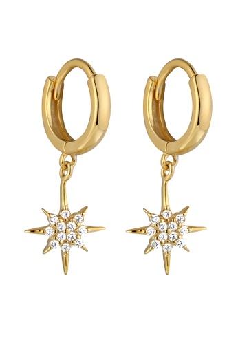 Studdedheartz gold Gold Paved CZ Starburst Huggie Mini Hoop Earrings 450D4ACD21C198GS_1