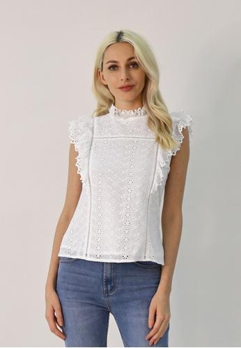 Cheetah white C.Union Eyelet Embroidery Ruffle Blouse - CUL-13890 - WT04 A5A22AAE8380A9GS_1
