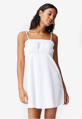 Cotton On white Woven Matilda Tie Strappy Mini Dress BBD8AAAAB586F9GS_1