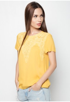 Short Sleeves with Front Lace Blouse